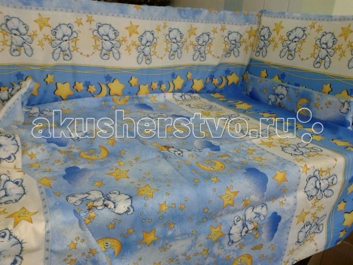 Комплект в кроватку Happy Dreams Мишки со звездами (7 предметов)Мишки со звездами (7 предметов)Комплект для кроватки Happy Dreams Мишки со звездами (7 предметов), выполненный из бязи. Симпатичные рисунки поднимут настроение и украсят любую кроватку. Насыщенные цвета не поблекнут даже после многочисленных стирок.   Особенности: 100% хлопок (пакистанская бязь) Съемные борта на молнии Ткани собственного дизайна. Только натуральные ткани Борта плотностью 500 г На бортах комплекта по 6 завязок Наполнитель Холлофайбер; Холлкон с эвкалиптовым, бамбуковым и мятным волокном  В комплекте  простынь: 100х150 см наволочка: 40х60 см подушка: 40х60 см пододеяльник: 110х145 см одеяло: 108х140 см балдахин: 150х40 см бампер: 40х360 см<br>