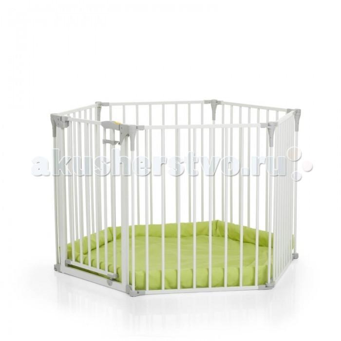 Манеж Hauck трансформер Baby Parkтрансформер Baby ParkМанеж Hauck трансформер Baby Park прослужит Вашей семье очень долго!  Секционный манеж можно использовать с самого рождения, собрав его в круг и поместив малыша внутрь на специальный мягкий матрасик.   Диаметр манежа 122 см, что позволяет ребенку с удобством играть в таком манеже.  По мере роста ребенка Вы можете использовать его в качестве защитного ограждения в небезопасные зоны – на кухне, вокруг камина, в дверном проеме, вокруг Новогодней елки.  Удобный замок-крепление позволит взрослому легко открыть «ворота», а конструкция замка не позволит малышу самостоятельно выйти из-за ограждения.  Особенности:  5 секций + секция с воротами, оборудованная замком-креплением Ворота открываются в обе стороны Диаметр манежа 122 см Ширина одной секции: 61 см Размеры: 366 х 75 см В комплекте: мягкий коврик.<br>