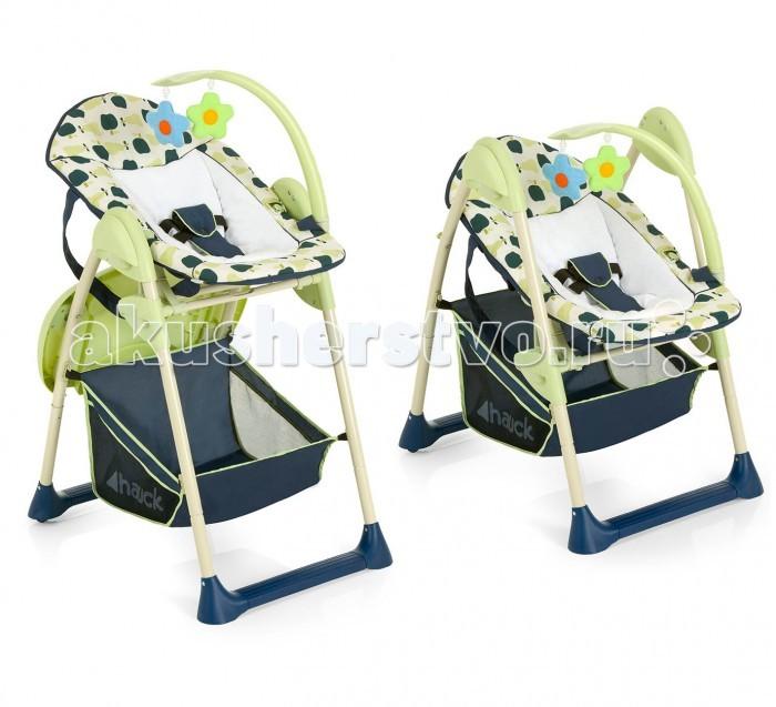Стульчик для кормления Hauck Sitin Relax + шезлонг для новорожденногоSitin Relax + шезлонг для новорожденногоСтульчик для кормления Hauck Sitin Relax + шезлонг для новорожденного  Стульчик Hauck Sitin Relax новая модель интересного многофункционального детского изделия. Такое необычное совмещение позволяет использовать универсальное изделие - стульчик для кормления Hauck Sit n Relax 2 в 1 + шезлонг для новорожденного - с первых дней рождения и до 3 лет.  Шезлонг для новорожденного оснащён 3 точечными ремнями безопасной поддержки младенца, регулируемой по наклону спинкой, а музыкальная мобиль с шикарными плюшевыми игрушками отлично развлечет малыша. Предназначено использование шезлонга для крох до 9 месяцев и до максимального веса 9 кг. Кресло стульчика удобно для малыша наличием 3-х позиционной спинкой сиденья, 5-точечными привязными ремнями безопасности, ограничителем между ножек и регулируемой подножкой для ног по высоте.   Особенности: стульчик можно установить в любом из 6 положений по высоте, чтобы ребенок мог сидеть рядом со взрослыми как за общим обеденным столом, так и на высоте дивана Практичный двойной поднос (съемный и моющийся) используется с успехом как для приема пищи, так и увлекательной игры, сидя за столиком Большое просторное сиденье Широкие удобные подлокотники 2 задних колеса (с фиксацией) позволят перемещать стульчик Sit n Relax по мере необходимости Ткань сидения мягкая и приятная, возможна ручная стирка Объемная сетка-корзинка для детских аксессуаров и любимых игрушек Компактно складывается  Характеристики: Размер детского стула: 75 х 53 х 105 см Размер стульчика для кормления в сложенном виде: 93 х 53 х 25 см Размеры кресла-сиденья: 30 х 25 см Размеры шезлонга для новорожденного: 80х 40 см Вес: 8.5 кг  В комплекте: Рама Шезлонг для новорожденного Мягкие подвесные игрушки Сидение-кресло стульчика<br>