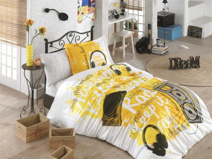 цена на Постельное белье 1.5-спальное Hobby Home Collection 1,5 спальное Евро Live music (4 предмета) 160х240 см