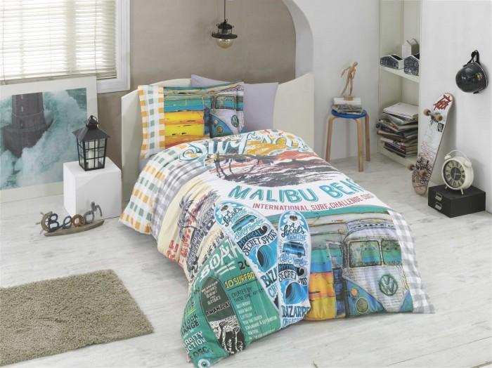 Постельные принадлежности , Постельное белье 1.5-спальное Hobby Home Collection Malibu Beach 1,5 спальное Евро (4 предмета) арт: 478261 -  Постельное белье 1.5-спальное