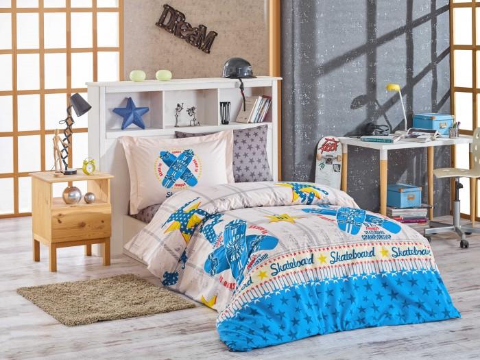 Постельные принадлежности , Постельное белье 1.5-спальное Hobby Home Collection Skateboard 1,5 спальное Евро (4 предмета) арт: 478271 -  Постельное белье 1.5-спальное