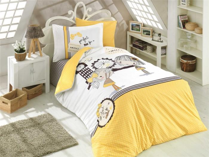 Постельные принадлежности , Постельное белье 1.5-спальное Hobby Home Collection Smile 1,5 спальное Евро (4 предмета) арт: 478296 -  Постельное белье 1.5-спальное
