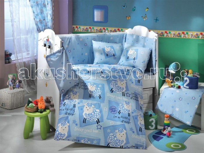Комплект в кроватку Hobby Home Collection C одеялом Litlle Sheep 100х150 см