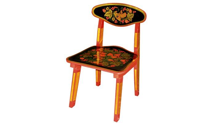 Фото Детские столы и стулья Хохлома Стул детский с хохломской росписью ягода/птица