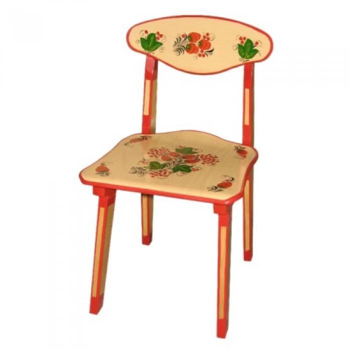 Детские столы и стулья, Хохлома Стул детский с художественной росписью ягода/цветок  - купить со скидкой