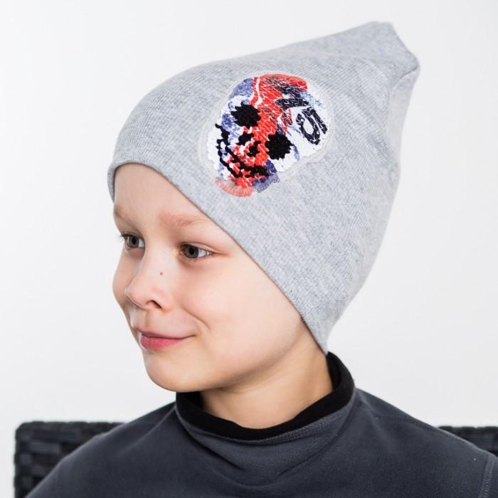 Картинка для Шапки, варежки и шарфы HohLoon Шапка двухслойная с черепом из пайеток
