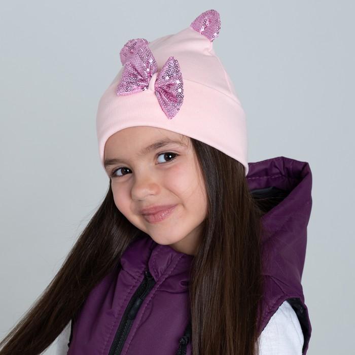 Картинка для Шапки, варежки и шарфы HohLoon Шапка двухслойная с маленькими ушками и бантиком из пайеток