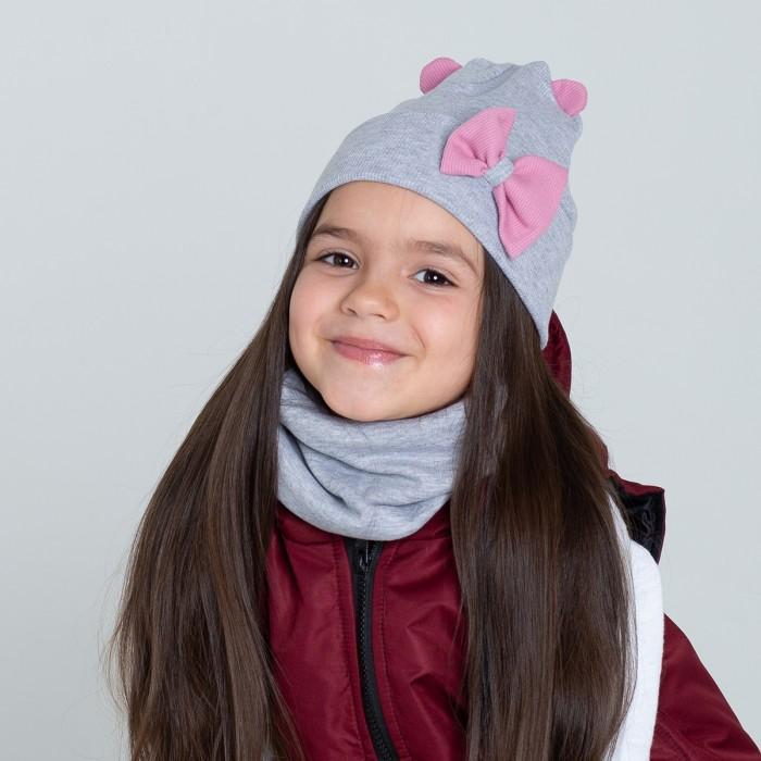 Купить Шапки, варежки и шарфы, HohLoon Шапка двухслойная с маленьникими ушками мишки и бантом
