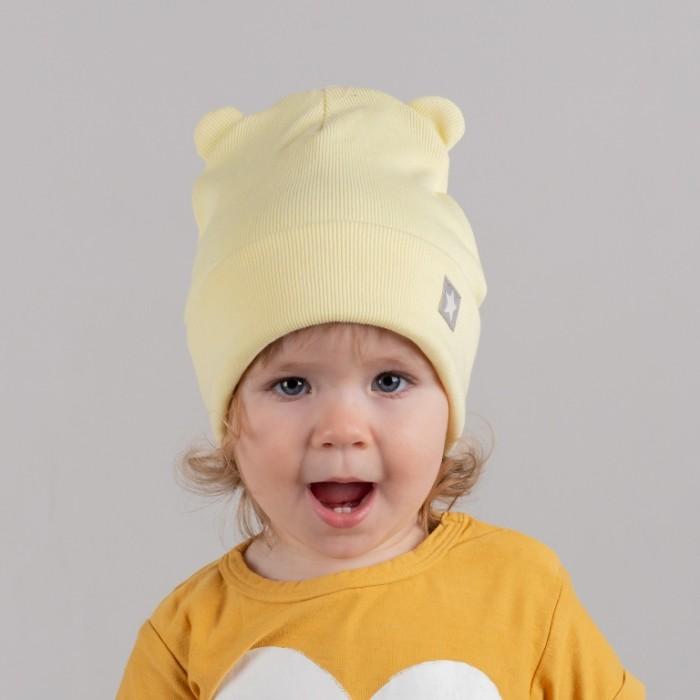 Картинка для Шапки, варежки и шарфы HohLoon Шапка двухслойная с подворотом мишка с нашивкой звездочка
