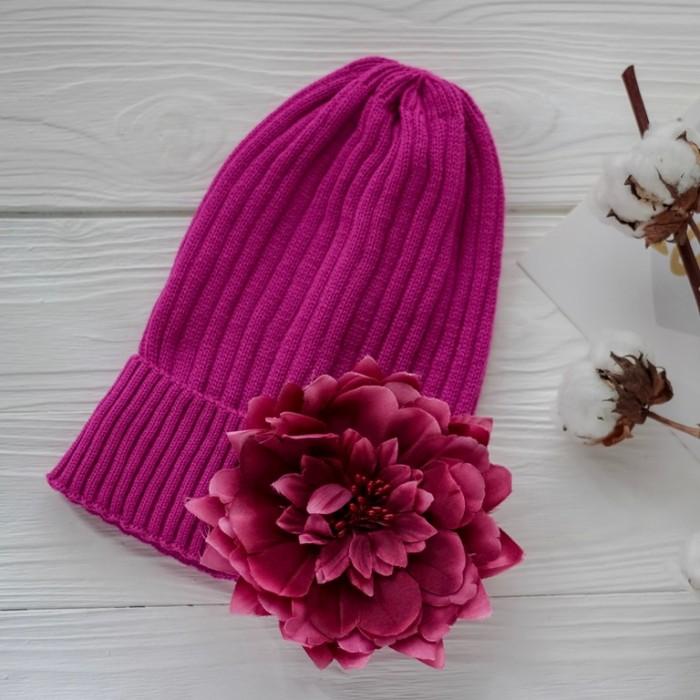 Картинка для Шапки, варежки и шарфы HohLoon Шапка вязаная с подворотом с цветком