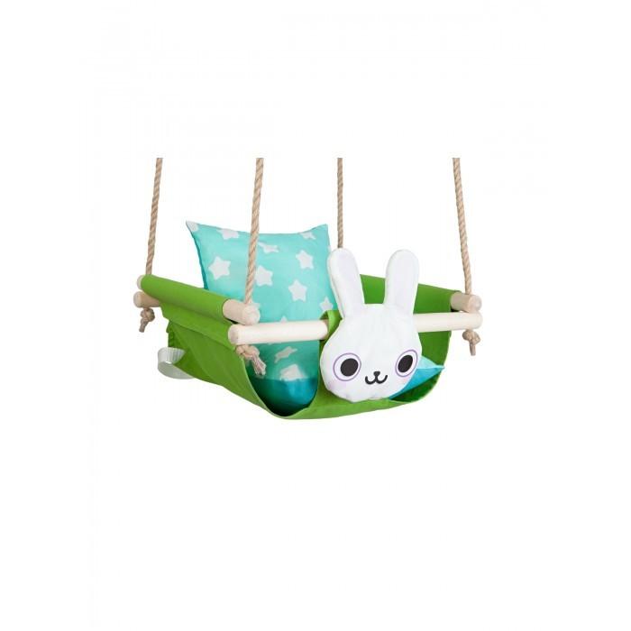 Качели Hotenok подвесные с подушками Заяц в траве фото