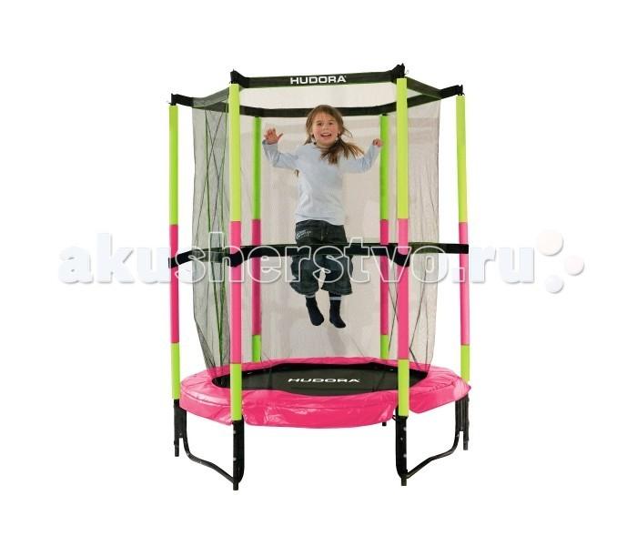 Hudora Батут Safety trampoline Jump in 140 смБатут Safety trampoline Jump in 140 смБатут Hudora Safety trampoline Jump in 140 см оборудован специальной высокой сеткой, максимально защищающей ребенка, а также сеткой безопасности, защищающей пространство под батутом от посторонних предметов.Батут легко собирается и разбирается для хранения.  Особенности: Батут специально разработанный для малышей от 3х лет. Рама, каркас из стали с порошковым покрытием - 140 х 140 х 183 см. Вспененное покрытие стальных опор. Верхний материал сетка изготовлена из прочной ткани. Экстра - мягкие края и пена подушка сделаны для безопасности. Для дальнейшей безопасности включают в себя привязки к сети 150 см с сеткой и липучки. Внимание! Пригоден для использования в помещении! Внимание! Только один пользователь. Максимальный вес 35 кг. Вес - 11 кг.<br>