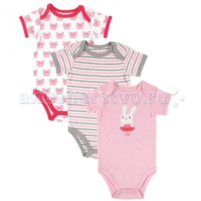 Детская одежда , Боди и песочники Hudson Baby Комплект Боди короткий рукав 3 шт. арт: 29776 -  Боди и песочники