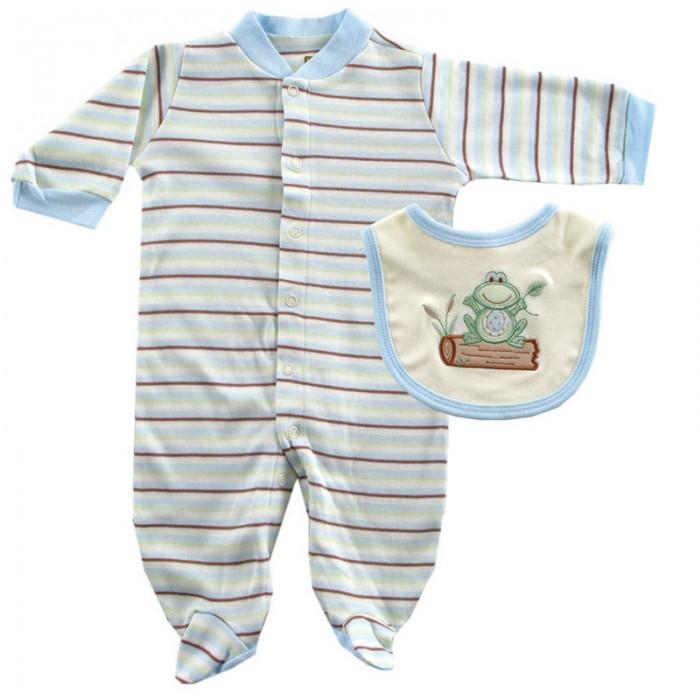 Комбинезоны и полукомбинезоны Hudson Baby Комплект Комбинезон и нагрудник Органик (2 предмета) боди детское hudson baby hudson baby боди цыплёнок 3 шт бирюзово розовый