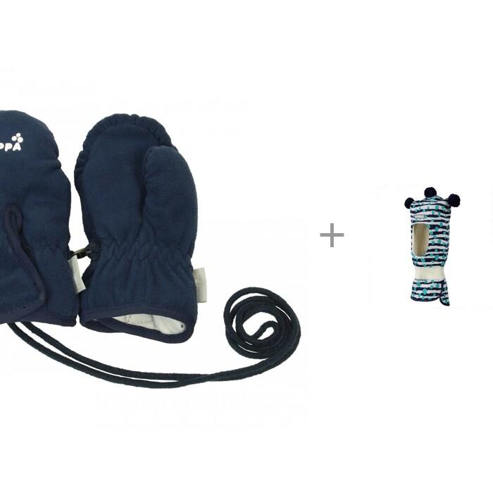 шапки варежки и шарфы huppa вязаная шапка шлем для малышей coco Шапки, варежки и шарфы Huppa Детские варежки Ellis W20-21 и вязаная шапка-шлем Coco W20-21