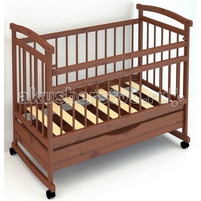Детская кроватка Бэби Бум Аленка 1 качалкаАленка 1 качалкаДетская кроватка Бэби Бум Аленка 1 качалка  Внизу кроватки оборудован выдвижной ящик для вещей. Изготовлена детская кроватка из древесины массива сосны с покрытием из безопасных лаков.  Материалы: массив сосны; Особенности: опускающаяся боковина с одной стороны; два уровня основания; полимерные накладки на перекладины(«грызунки») колеса или качалка по выбору выдвижной ящик  качание - полозья для качания спинки - реечные стенки - реечные днище - реечное все лаки на водной основе, гипоалергенны внешние размеры кроватки Д/Ш/В - 125 х 70 х 109<br>