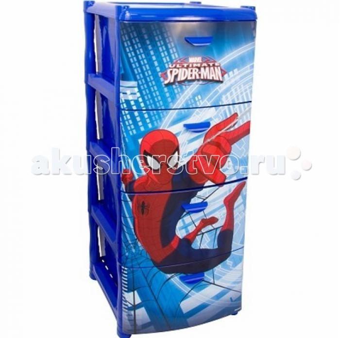 Ящики для игрушек Idea (М-Пластика) Комод Человек паук 4-х секционный комоды детские альтернатива комод дисней 2 3 х секционный