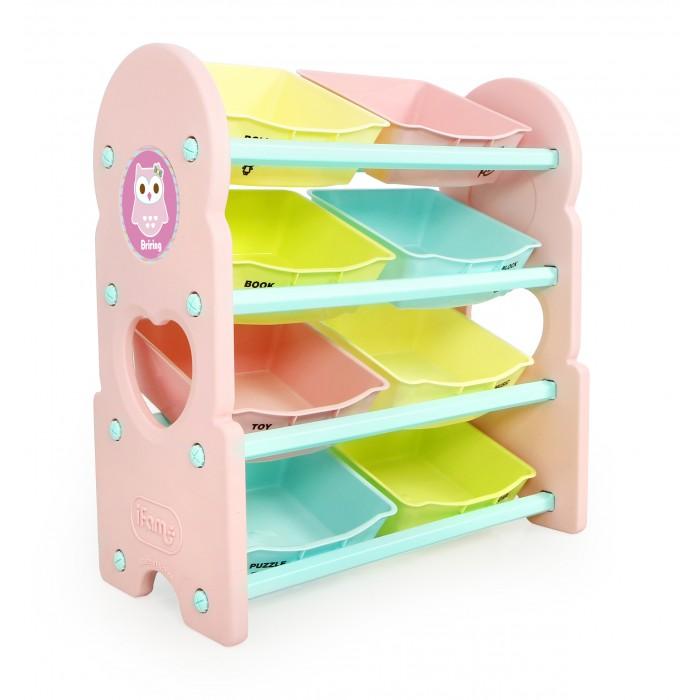 Ifam Стеллаж для игрушек Briring-4Стеллаж для игрушек Briring-4Ifam Стеллаж для игрушек Briring-4 отлично подходит для оборудования комнаты активно растущего ребёнка. Изготовлен он в Южной Корее из экологичного пластика PP/PE яркого розового цвета.  Конструкция предусматривает 4 полки, на которых расположены 8 открытых ящиков. На каждый из них нанесено схематическое изображение категории вещей, поэтому ребёнок быстро привыкает к порядку и раскладывает игрушки на свои места.  Приятный розовый цвет и яркие оттенки съёмных ящиков делают стеллаж гармоничным дополнением комнаты ребёнка.   Вес конструкции 6,83 кг. Размер модели в установленном состоянии 76 x 36 x 83,5 см<br>