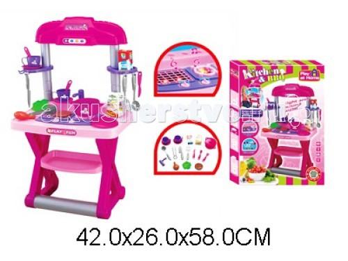 Игралия Игровой набор Кухня со звуком 661-61/661-61AИгровой набор Кухня со звуком 661-61/661-61AИгровой набор Кухня со светом и звуком 661-61/661-61A   Кухня (высота 85 см) и 20 самых важных и необходимых для успешного ведения домашнего хозяйства предметов. В комплект входит: плита, комфорки со светом и звуком при включении, (без духового шкафа) набор 2 чашки с блюдцами сковородка кастрюля ложки вилки половники набор продуктов, овощи, крупы. Кухня выполнена из упрочненного пластика, надежна и устойчива, также подходит для коллективной игры. Cтильно подобранная цветовая гамма – традиционный розовый цвет,фиолетовый с элементами цвета металлик.  Компактный кухонный комплекс: - крючочки для развешивания кухонных принадлежностей - 1 комфорка с функцией грилль(сетка) - вторая комфорка для готовки и подогрева блюд.  Включение звуковых эффектов - при включении комфорки!  Сразу раздается звук шипения, имитация крана с водой. Увлекательная игра развивает фантазию и воображение, а набор аксессуаров оптимален для знакомства с элементами домашнего хозяйства.  Коробка в виде чемоданчика с ручкой. Батарейки 2хАА (в комплект не входят). Для детей от 2 лет.  Размер в собранном виде: 82-85 см<br>