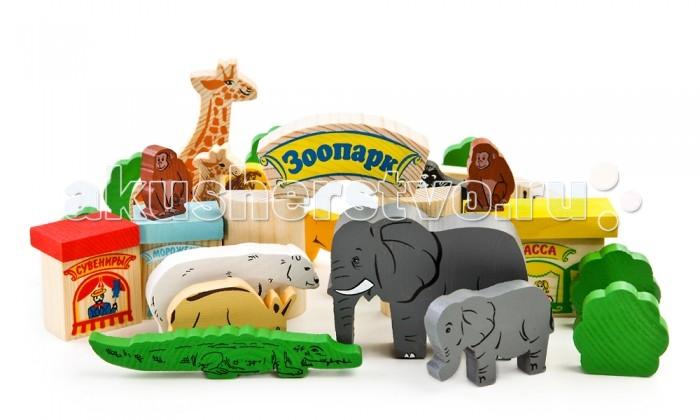 Деревянные игрушки Томик Конструктор Зоопарк 44 деталей томик конструктор веселый городок 56 деталей томик