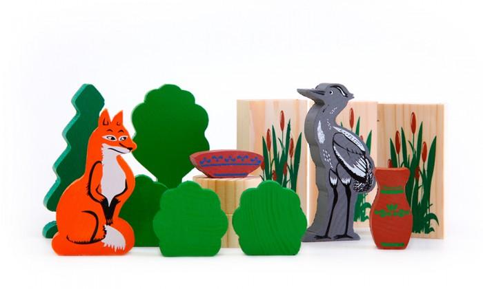 Деревянные игрушки Томик Конструктор Сказки Лиса и журавль 14 деталей лиса и журавль
