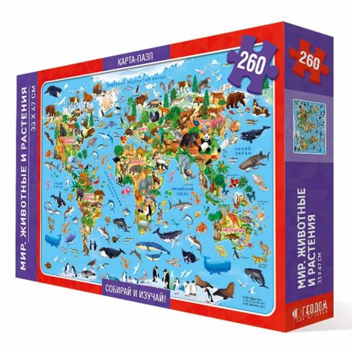 Картинка для Пазлы Геодом Карта-пазл Мир животные и растения (260 деталей)
