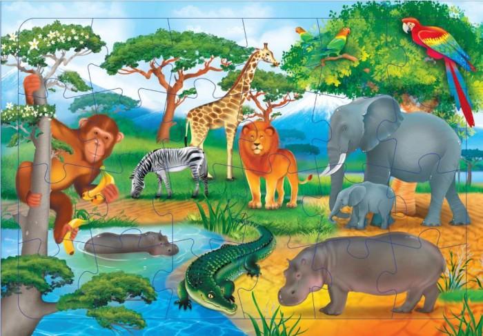 Картинка для Пазлы Геодом Пазл листовой на подложке В Африке (24 детали)