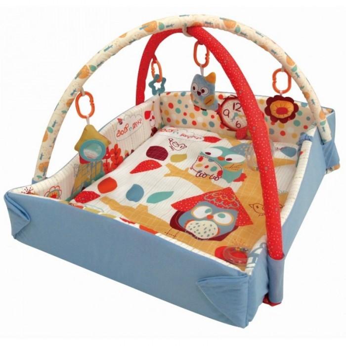 Развивающий коврик Baby Mix Сова с бортикамиСова с бортикамиРазвивающий коврик Сова с бортиками - это целая игровая площадка, в которой есть все необходимое для занимательной игры и развития малыша. Он будет интересен как совсем маленьким крошкам, так и подросшим карапузам. Яркие тона игрового поля, красочные подвесные игрушки - вот те особенности, которые привлекают внимание ребенка.  Особенности: довольно большое игровое поле на игровом поле есть несколько разнотекстурных элементов безопасное зеркальце в мягкой оправе кроха учится фокусировать взгляд на предмете малыш учится удерживать в руках предметы ребенок получает знания о пространственном положении вещей мелкие детали и разнофактурные элементы стимулируют развитие мелкой моторики и тактильного восприятия яркие тона стимулируют развитие зрения  размеры: В разложенном виде: 90 х 110 см  В сложенном виде: 65 х 75 см Высота бортиков: 14 см<br>
