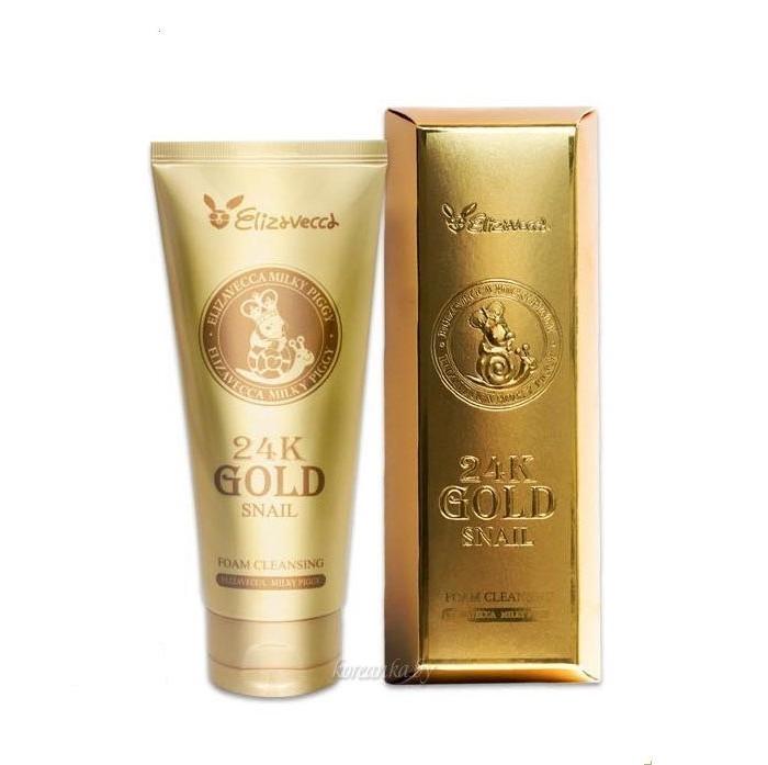 Elizavecca 24K Gold Snail Пенка для умывания с экстрактом улитки и золота 180 мл