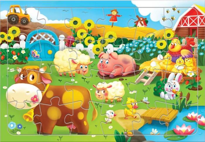 Картинка для Пазлы Геодом Пазл листовой на подложке Животные на ферме (24 детали)