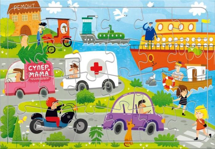 Картинка для Пазлы Геодом Пазл листовой на подложке Транспорт (24 детали)