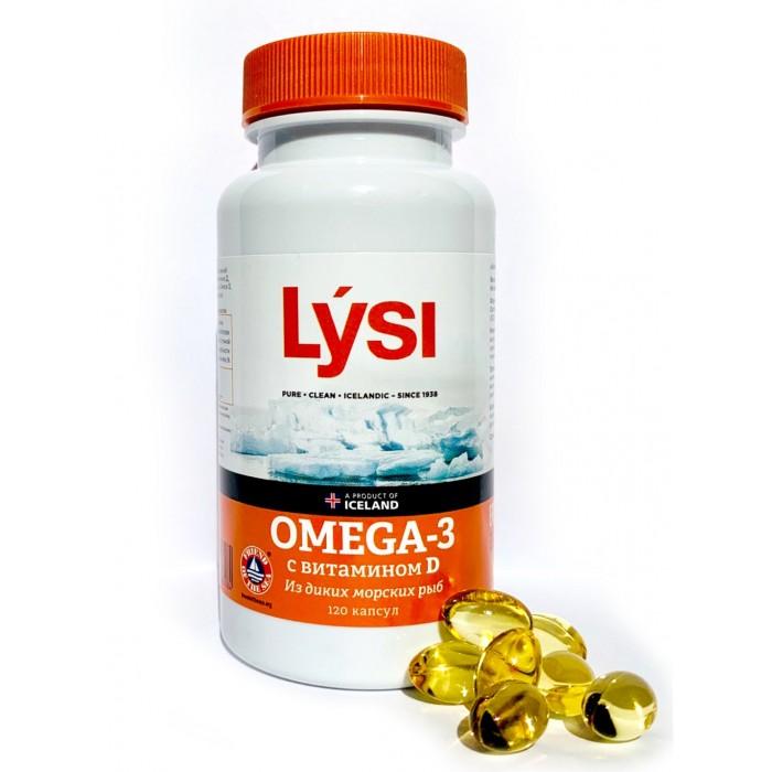 Картинка для Витамины, минералы и БАДы Lysi Омега-3 с витамином D капсулы 120 шт.