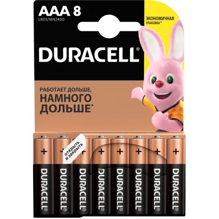 Батарейки, удлинители и переходники Duracell Батарейка алкалиновая Basic AAA (LR03) 8 шт. батарея duracell basic lr03 8bl 8 шт aaa