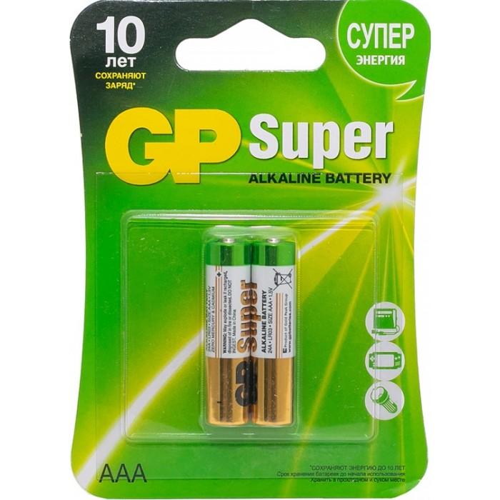 Батарейки, удлинители и переходники GP Батарейка алкалиновая Super AAA (LR03) 2 шт. батарейка алкалиновая gp batteries тип 910а lr01 2 шт