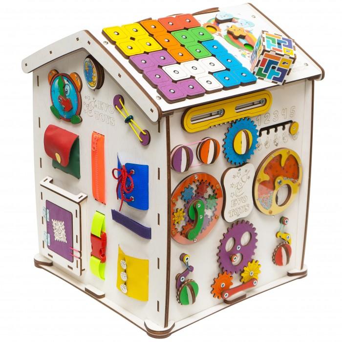 Деревянная игрушка Evotoys Бизиборд домик Знайка Семицветик Миди
