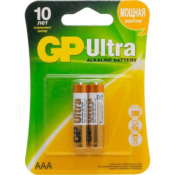 Батарейки, удлинители и переходники GP Батарейка алкалиновая Ultra AAA (LR03) 2 шт. батарейка алкалиновая gp batteries тип 910а lr01 2 шт