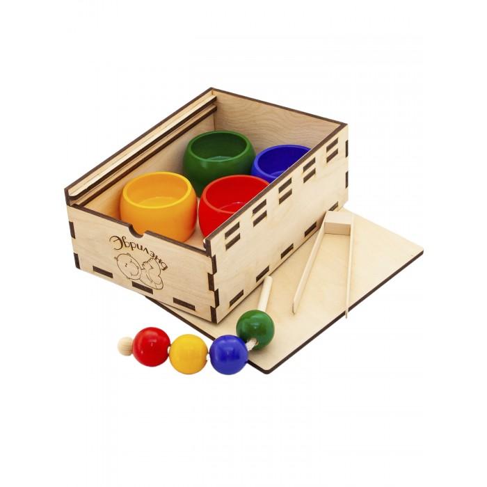 Деревянная игрушка Эврилэнд Шнуровка-сортер 4 цвета