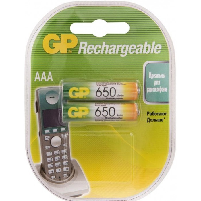 Батарейки, удлинители и переходники GP Аккумулятор AAA (HR03) 650mAh 2 шт.