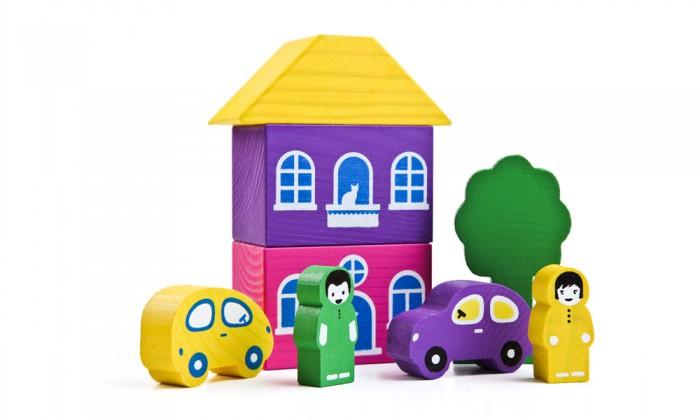 Деревянные игрушки Томик Конструктор Цветной городок фиолетовый 8 деталей томик деревянный конструктор цветной 26 деталей