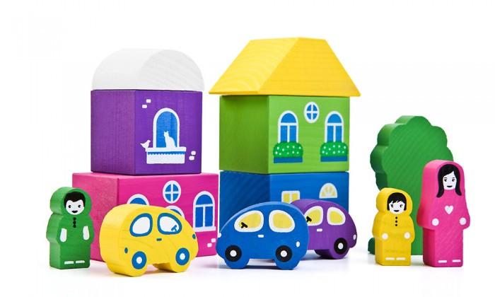 Деревянные игрушки Томик Конструктор Цветной городок розовый  14 деталей томик деревянный конструктор цветной 26 деталей