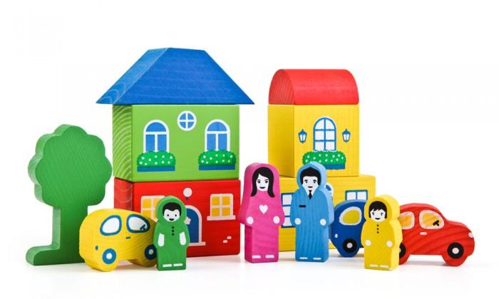 Деревянные игрушки Томик Конструктор Цветной городок синий  14 деталей томик деревянный конструктор цветной 26 деталей