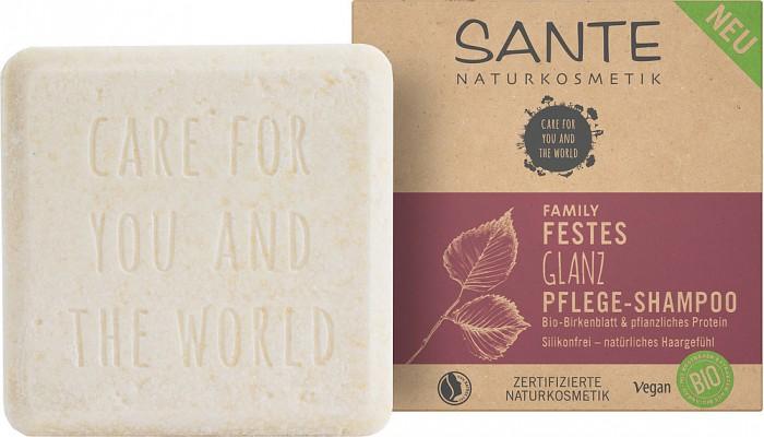 Косметика для мамы Sante Family Питательный шампунь твердый для блеска волос с био-берёзой и растительными протеинами недорого