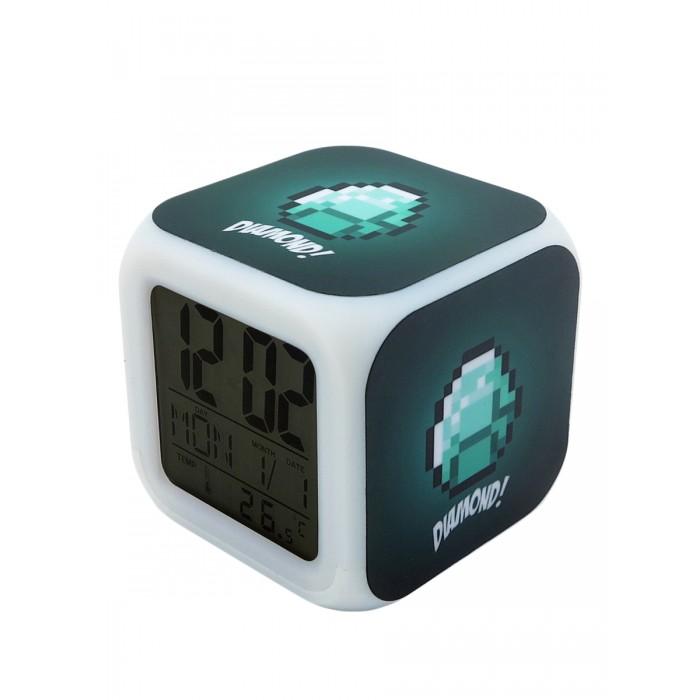 Картинка для Часы Pixel Crew будильник Алмазная руда пиксельные с подсветкой