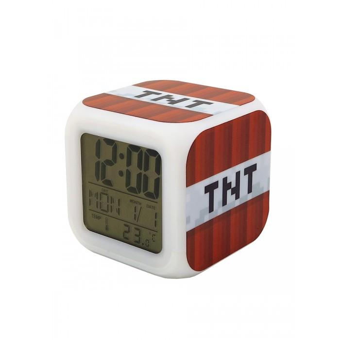 Картинка для Часы Pixel Crew будильник Блок ТНТ взрывчатки пиксельные с подсветкой