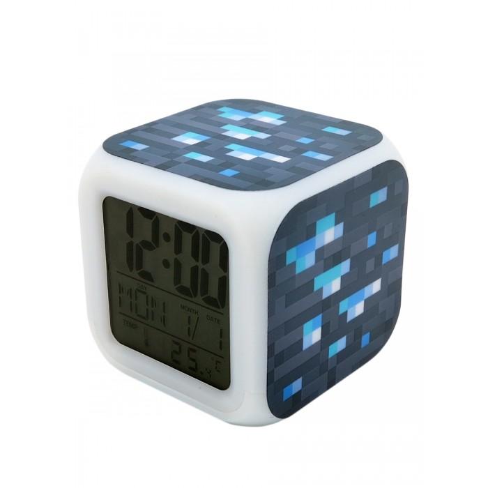 Картинка для Часы Pixel Crew будильник Блок алмазной руды пиксельные с подсветкой