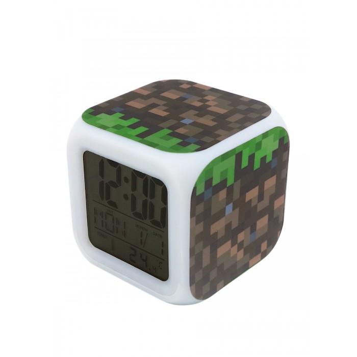 Картинка для Часы Pixel Crew будильник Блок земли пиксельные с подсветкой