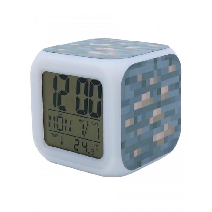 Картинка для Часы Pixel Crew будильник Блок золотой руды пиксельные с подсветкой