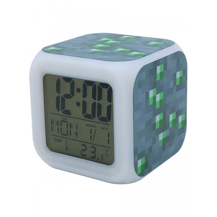 Часы Pixel Crew будильник Блок золотой руды пиксельные с подсветкой