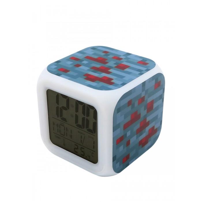 Картинка для Часы Pixel Crew будильник Блок красной руды пиксельные с подсветкой